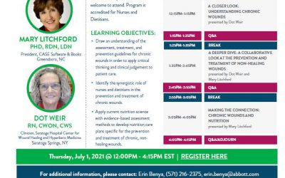 Join Mary Litchford & Dot Weir for a FREE Half-Day Webinar on Nutrition & Chronic Wounds